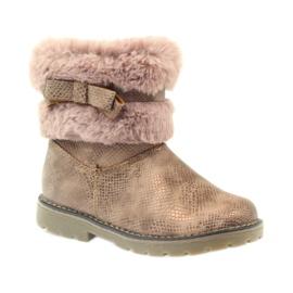 American Club Americké boty zimní boty s fur17042 hnědý žlutý růžový 1