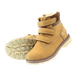 American Club Boty boty velcro 708121 hnědý žlutý 4