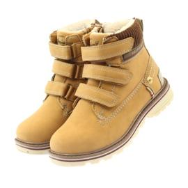 American Club Boty boty velcro 708121 hnědý žlutý 3