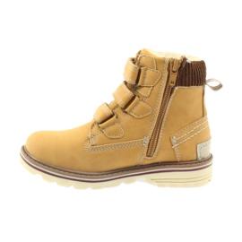 American Club Boty boty velcro 708121 hnědý žlutý 2