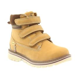 American Club Boty boty velcro 708121 hnědý žlutý 1