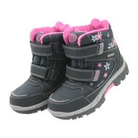 American Club Americké boty zimní boty s membránou 3121 šedá růžový 4