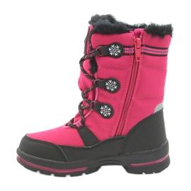 American Club Americké zimní boty s membránou 702SB černá růžový 2