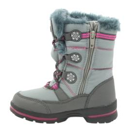 American Club Americké zimní boty s membránou 702SB šedá růžový 2