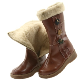 Zawadka Dívčí boty s kožešinou Zawatka hnědá hnědý 4