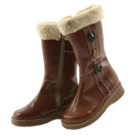 Zawadka Dívčí boty s kožešinou Zawatka hnědá hnědý 3