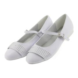 Pumpy dětské boty Communion Ballerinas rhinestones American Club 11/19 bílá 4
