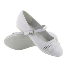 Pumpy dětské boty Communion Ballerinas rhinestones American Club 11/19 bílá 3