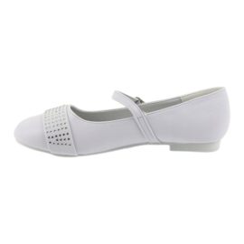Pumpy dětské boty Communion Ballerinas rhinestones American Club 11/19 bílá 2