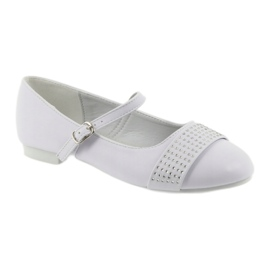 Pumpy dětské boty Communion Ballerinas rhinestones American Club 11/19 bílá 1
