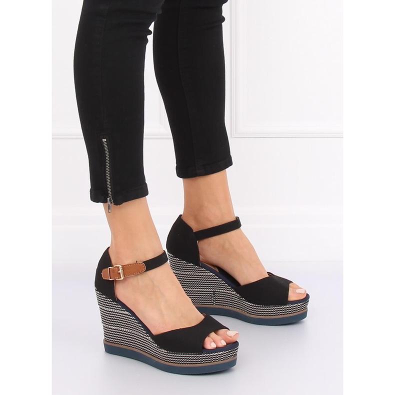 Sandály, klínové podpatky, černá 9079 Černá obrázek 1
