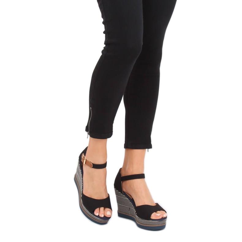 Sandály, klínové podpatky, černá 9079 Černá obrázek 2