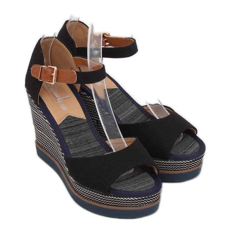 Sandály, klínové podpatky, černá 9079 Černá obrázek 3