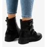 Černá Dámské černé boty s přezkami S120 obrázek 2