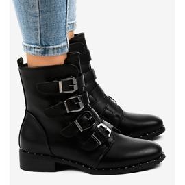 Dámské černé boty s přezkami S120 černá 3