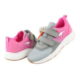 Sportovní obuv KangaROOS se suchým zipem 18506 šedá / neon růžová 4