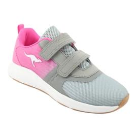 Sportovní obuv KangaROOS se suchým zipem 18506 šedá / neon růžová 1