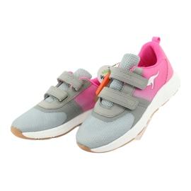 Sportovní obuv KangaROOS se suchým zipem 18506 šedá / neon růžová 3