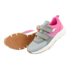 Sportovní obuv KangaROOS se suchým zipem 18506 šedá / neon růžová 5