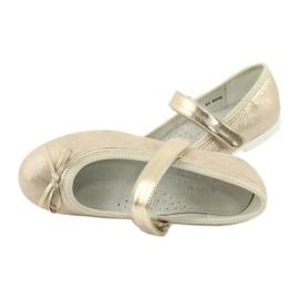 Zlaté baleríny American Club GC02 s mašlí béžový zlato 5