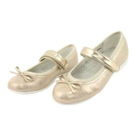 Zlaté baleríny American Club GC02 s mašlí béžový zlato 3