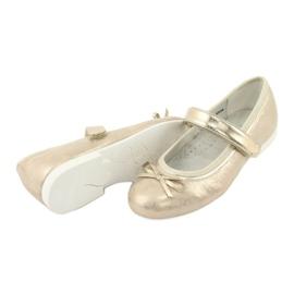 Zlaté baleríny American Club GC02 s mašlí béžový zlato 4