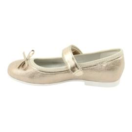 Zlaté baleríny American Club GC02 s mašlí béžový zlato 2