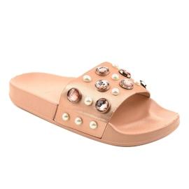 Růžové žabky s perlami H-6567 růžový 1
