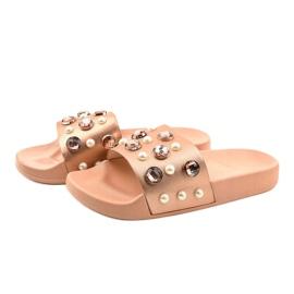 Růžové žabky s perlami H-6567 růžový 2