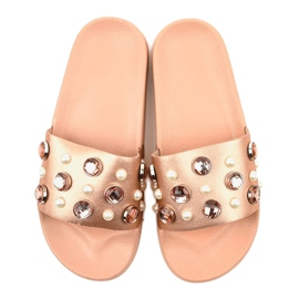 Růžové žabky s perlami H-6567 růžový 3