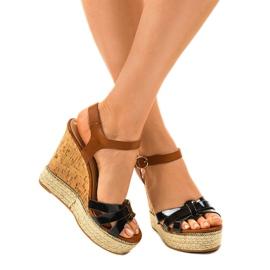 Černé sandály espadrilles na klínu 6032 1