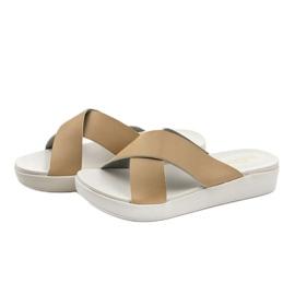Béžové dámské pantofle LU22 hnědý 2
