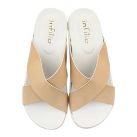 Béžové dámské pantofle LU22 hnědý 3