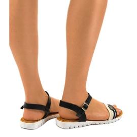 Dámské černé ploché sandály G-513-01 černá 2