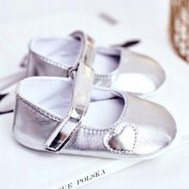 Apawwa Křest dětské tenisky na suchý zip Bellawa Silver šedá 2