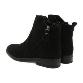 Evento Černé semišové kotníkové boty se zipy černá 4