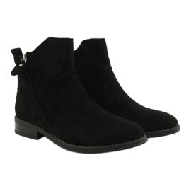 Evento Černé semišové kotníkové boty se zipy černá 5