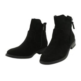 Evento Černé semišové kotníkové boty se zipy černá 2