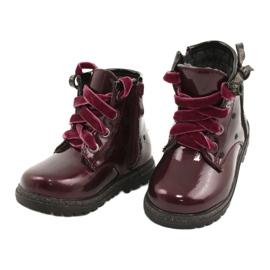 Evento Dívčí boty, lakovaná mašle 20DZ60-3246 WINE černá červená zlato 2