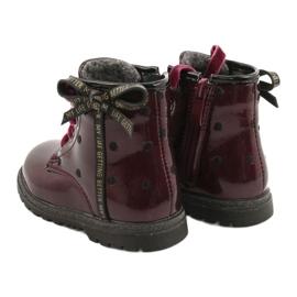 Evento Dívčí boty, lakovaná mašle 20DZ60-3246 WINE černá červená zlato 3