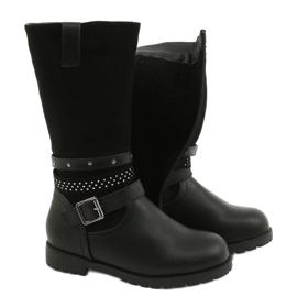 Černé dívčí boty s kubickými zirkony Evento 20DZ60-3229 černá 3