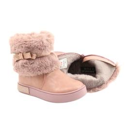 American Club Americké boty na zip GC26 / 20 s kožešinou růžový zlato 4