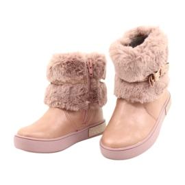 American Club Americké boty na zip GC26 / 20 s kožešinou růžový zlato 2