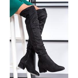 Fashion Černé stehenní vysoké boty černá 1