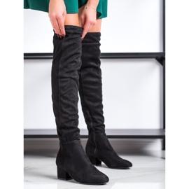 Fashion Černé stehenní vysoké boty černá 2