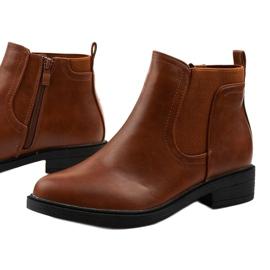 Velbloudí ploché kotníkové boty s Merriva z ekokože hnědý 1