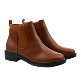 Velbloudí ploché kotníkové boty s Merriva z ekokože hnědý 3