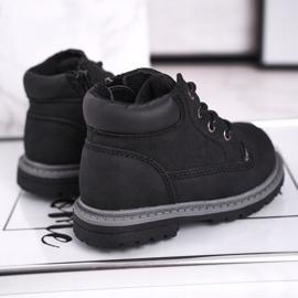 Apawwa Dětské chlapecké černé boty Kozačky Moa černá 2