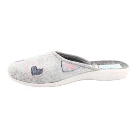 Šedá plstěná pantofle srdce Adanex 19255 šedá růžový 1