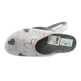 Šedá plstěná pantofle srdce Adanex 19255 šedá růžový 4